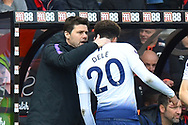 Tottenham Hotspur manager Mauricio Pochettino has a word with Dele Alli (20) of Tottenham Hotspur during the Premier League match between Bournemouth and Tottenham Hotspur at the Vitality Stadium, Bournemouth, England on 4 May 2019.
