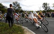 France, VEIGNE , 11 October 2009: Filippo POZZATO, TEAM KATUSHA (KAT) and QUICK STEP (QST) rider, Tom BOONEN on the Côte de Crochu climb during the Paris Tours cycle race. Photo by Peter Horrell / http://peterhorrell.com...