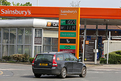 © Licensed to London News Pictures. 27/04/2020. London, UK. Sainsbury's in north London sells unleaded petrol below £1.06 per litre and diesel below £1.12 per litre following oil price drop. Photo credit: Dinendra Haria/LNP