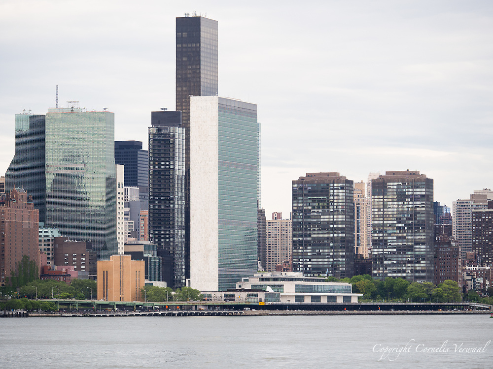 Buildings in Manhattan along the East River including the United Nations building.
