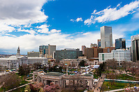 Overview of Civic Center Park and Downtown Denver, 420 Cannabis Culture Music Festival, Civic Center Park, Downtown Denver, Colorado USA.