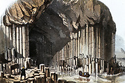 Fingal's Cave, best-known of the caves in the basalt stacks on the southwest coast of Staffa, Inner Hebrides, Scotland. 69 metres long and 12 metres wide with a roof arch approximately 22 metres high this natural phenomenon was the inspiration for Felix Mendelssohn's (1809-1847) overture 'The Hebrides'. Hand-coloured engraving published 1849.