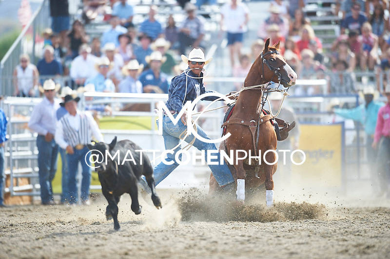 Tie-down roper Catfish Brown of Collinsville, TX competes at the Rancho Mission Viejo Rodeo in San Juan Capistrano, CA.  <br /> <br /> <br /> UNEDITED LOW-RES PREVIEW<br /> <br /> <br /> File shown may be an unedited low resolution version used as a proof only. All prints are 100% guaranteed for quality. Sizes 8x10+ come with a version for personal social media. I am currently not selling downloads for commercial/brand use.