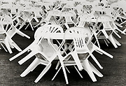 Henley on Thames, England, 1999 Henley Royal Regatta, River Thames, Henley Reach,  [© Peter Spurrier/Intersport Images], The Plastic chairs neatly turned into the tables on the Bridge bar Lawn,