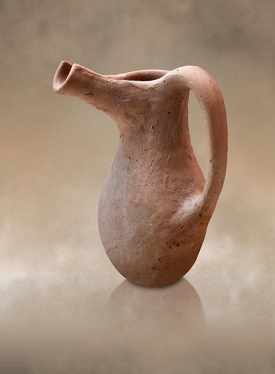 Hittite spouted pitcher, Hittite capital Hattusa, Hittite  Middle  Kingdom 1650-1450 BC, Bogazkale archaeological Museum, Turkey.