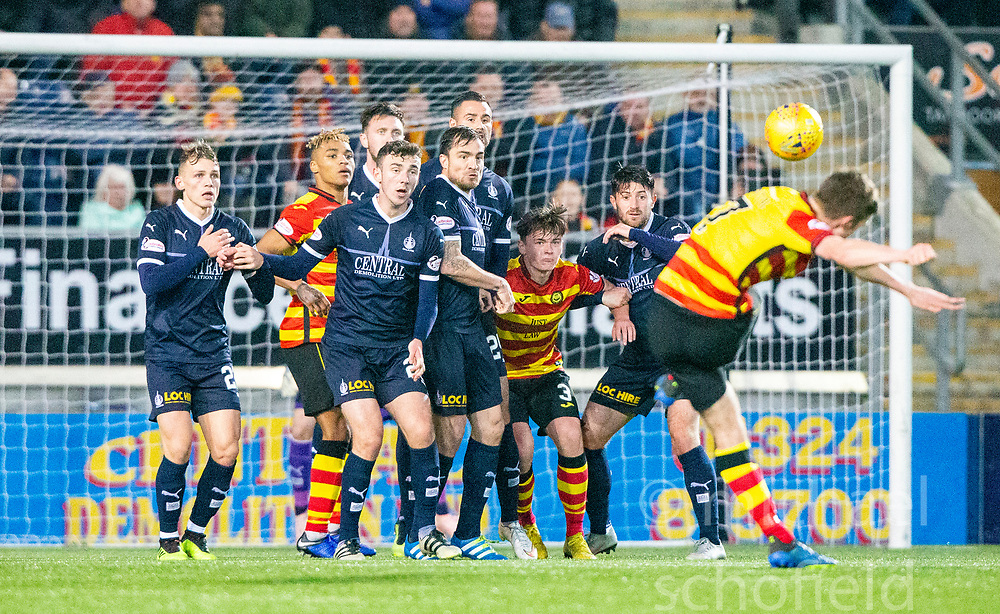 Falkirk's wall as Partick Thistle's Blair Spittal free kick goes over. Falkirk 1 v 1 Partick Thistle, Scottish Championship game played 17/11/2018 at The Falkirk Stadium.