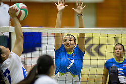 Wang Yanan of China vs Larisa Pirih of Slovenia during friendly Sitting Volleyball match between National teams of Slovenia and China, on October 22, 2017 in Sempeter pri Zalcu, Slovenia. (Photo by Vid Ponikvar / Sportida)