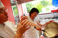 """Lenotre Ecole Culinaire, Paris,..short course - """"Return to the Market"""" with Chef Jacky Legras..whipping cream for the dessert..photo by Owen Franken for the NY Times..July 12, 2007......."""