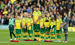 Norwich City mascots during a 2 minutes silence
