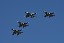 March 4, 2018 - Las Vegas, Nevada, U.S. - LAS VEGAS, NV - MARCH 04: US Air Force F-16's perform a flyover before the start of the Pennzoil 400 Monster Energy NASCAR Cup Series race on March 4, 2018, at Las Vegas Motor Speedway in Las Vegas, NV. at Las Vegas Motor Speedway in Las Vegas, NV. (Photo by Michael Allio/Icon Sportswire) (Credit Image: © Michael Allio/Icon SMI via ZUMA Press)