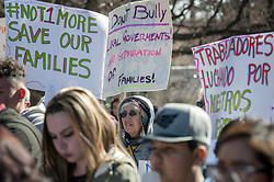 January 29, 2018 - U.S. - Judith Chaddick, from Velarde, takes part in an immigrants' rights rally outside the State Capitol in Santa Fe,  Monday  January 29, 2018. Around 150 people attended the rally organized by Somos Un Pueblo Unido, an immigrants' rights group. (Credit Image: © Eddie Moore/Albuquerque Journal via ZUMA Wire)