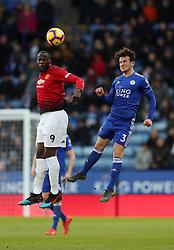 Manchester United's Romelu Lukaku (left) wins a header
