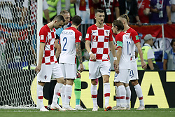 (l-r) Marcelo Brozovic of Croatia, Sime Vrsaljko of Croatia, referee Nestor Pitana, Ivan Perisic of Croatia, Luka Modric of Croatia, Domagoj Vida of Croatia during the 2018 FIFA World Cup Russia Final match between France and Croatia at the Luzhniki Stadium on July 15, 2018 in Moscow, Russia