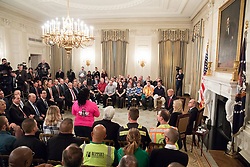 October 31, 2018 - Washington, District of Columbia, U.S. - Workers speaks during event. President Trump, I. Trump, and L. Kudlow participate in the 'Our Pledge to America's Workers' event at White House. (Credit Image: ? White House/ZUMA Wire/ZUMAPRESS.com)