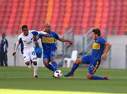 Sizwe Mdlinzo of Chippa United (L), Robyn Johannes of Cape Town City, and Roland Putsche of Cape Town City during the 2016 Premier Soccer League match between Chippa United and Cape Town City held at the Nelson Mandela Bay Stadium in Port Elizabeth, South Africa on the 19th November  2016.<br /> <br /> Photo by:   Richard Huggard / Real Time Images