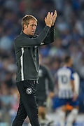 Graham Potter, Head Coach of Brighton & Hove Albion FC thanking the supporters following the Pre-Season Friendly match between Brighton and Hove Albion and Valencia CF at the American Express Community Stadium, Brighton and Hove, England on 2 August 2019.