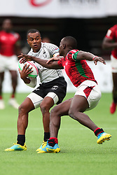 March 9, 2019 - Vancouver, BC, U.S. - VANCOUVER, BC - MARCH 09:  Alasio Naduva (10) of Fiji protects the ball against Daniel Taabu (1) of Kenya during day 1 of the 2019 Canada Sevens Rugby Tournament on March 9, 2019 at BC Place in Vancouver, British Columbia, Canada. (Photo by Devin Manky/Icon Sportswire) (Credit Image: © Devin Manky/Icon SMI via ZUMA Press)