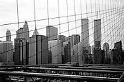 Lower Manhattan skyline with World Trade Center as seen from the Brooklyn bridge, New York City, New York, USA
