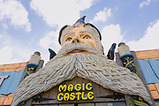 Giant wizard at the entrance to the Magic Castle in Orlando, Florida.