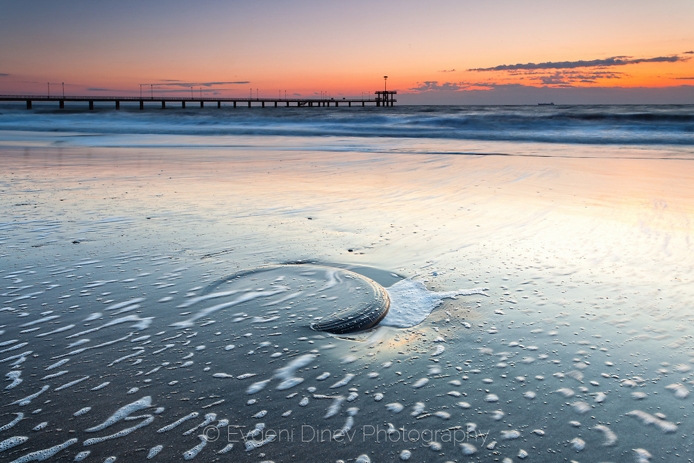 Winter dawn at the beach of Burgas