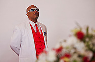 """Lowdown,"" Kevin's best friend.<br /> Funeral services for Kevin ""Flipside"" White at Macedonia Church in Watts.<br /> White was shot dead in what is believed to be an unprovoked attack during a gang conflict at Watts' Nickerson Gardens and Jordan Downs housing projects.<br /> Flipside, 44, was a founding member of Watts' first major label hip hop act, O.F.T.B. (Operation From The Bottom)."