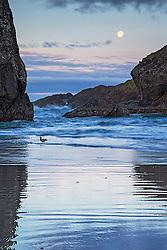 Sunrise and setting moon along the rugged coastline of Gold Beach Oregon