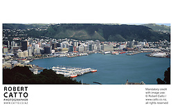 A panoramic view of Wellington City and the harbour, from the summit of Mt Victoria. at Mt Victoria, Wellington, New Zealand.