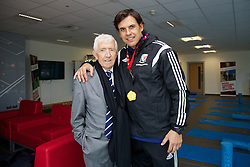 NEWPORT, WALES - Tuesday, October 7, 2014: Matt Southall and Wales' manager Chris Coleman at Dragon Park National Football Development Centre ahead of the UEFA Euro 2016 qualifying match against Bosnia and Herzegovina. (Pic by David Rawcliffe/Propaganda)