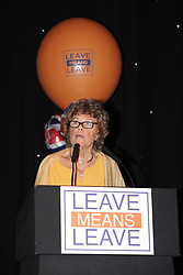 "© Licensed to London News Pictures . 22/09/2018. Bolton, UK. KATE HOEY. Pro Brexit campaign group Leave Means Leave host a "" Save Brexit "" and "" Chuck Chequers "" rally at the University of Bolton Stadium , attended by leave-supporting politicians from a cross section of parties , including Conservative David Davis , former UKIP leader Nigel Farage and Labour's Kate Hoey . Photo credit: Joel Goodman/LNP"