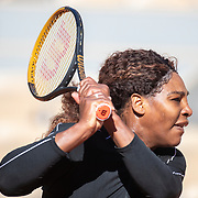 PARIS, FRANCE May 27. Serena Williams of the United States practicing on Court Philippe-Chatrier in preparation for the 2021 French Open Tennis Tournament at Roland Garros on May 27th 2021 in Paris, France. (Photo by Tim Clayton/Corbis via Getty Images)