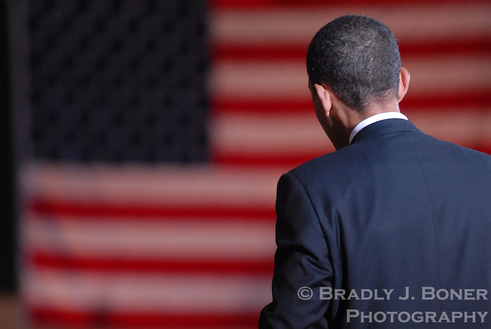 Democratic presidential candidate U.S. Sen. Barack Obama (D-Ill.) speaks at a town hall meeting at the recreation center in Casper, Wyo., the day before the statewide Wyoming Democratic caucuses.