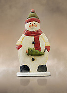 Hand made wooden snowman Christmas decoration, cut out