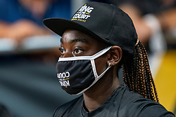 Courtcrew with mouth mask in action during the last day of the beach volleyball event King of the Court at Jaarbeursplein on September 12, 2020 in Utrecht.