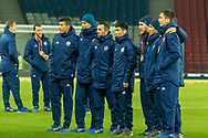 Some of the Kazakhstan squad pose for pictures ahead of the UEFA European 2020 Qualifier match between Scotland and Kazakhstan at Hampden Park, Glasgow, United Kingdom on 19 November 2019.