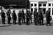 """10282017 - Murfreesboro, Tennessee, USA: Police stand in a line after White Lives Matter participants canceled their second rally in Murfreesboro, Tennessee. The first rally earlier in Shelbyville, Tenn., was the largest such gathering since the deadly Charlottesville, """"Unite the Right"""" rally in August. The rallies in Murfreesboro, and Shelbyville cost about 100,000 dollars for security, which is paid from local tax dollars."""
