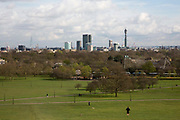 Landscpape view of the London skyline with iconic buildings including The Shard, BT Tower, London Eye, Saint Paul's Cathedral from Primrose Hill, London, England, United Kingdom.