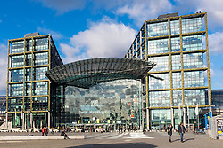 Exterior view of Hauptbahnhof main railway central in Berlin, Germany