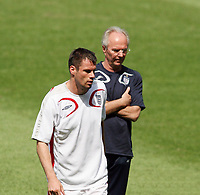 Photo: Chris Ratcliffe.<br /> England Training Session. FIFA World Cup 2006. 24/06/2006.<br /> Sven Goran Eriksson and Jamie Carragher in training.