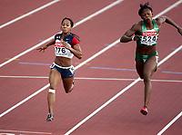 Friidrett, 7. august 2005, VM Helsinki, <br /> World Championships in Athletics<br /> Me´Lisa Barber, USA og Endurance Ojokolo, NGR