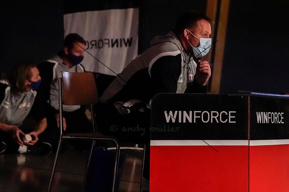 28.11.2020; Muri; Ringen - Swiss Premium League - RS Freiamt (rot) - RC Willisau Lions (blau);<br /> Coach Marcel Leutert (Freiamt) <br /> Foto: Andy Mueller