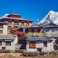 Mts. Everest and Ama Dablam rise behind Tengboche Monastery in the Khumbu region of Nepal 1986.