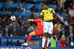 England's Jamie vary and Colombia's Yerry Mina during the 1/8 final game between Colombia and England at the 2018 FIFA World Cup in Moscow, Russia on July 3, 2018. Photo by Lionel Hahn/ABACAPRESS.COM