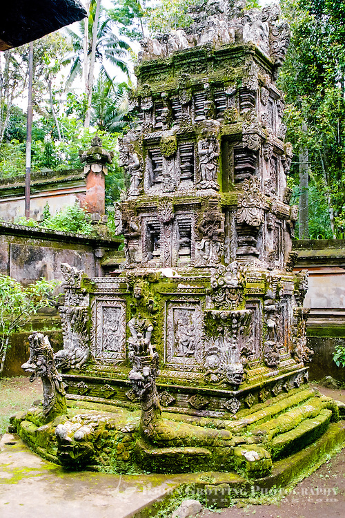 Bali, Bangli, Pura Kehen. A so-called padmasana, a shrine, with intricate carvings.
