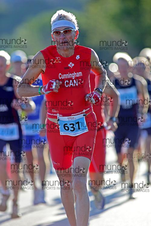 (Ottawa, Canada---10 August 2013)  Fenton Cunningham (631)  of Canada (CAN) competing in the 60-64 Male AG International Triathlon Union 2013 World Duathlon Championships (10 km run- 40 km bike- 5km run).