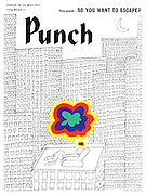 (Man asleep in armchair on top of tall building) Punch, front cover, 19th May 1971.