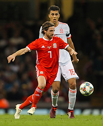 October 11, 2018 - Cardiff City, Walles, United Kingdom - Cardiff, Wales October 11, 2018.Joe Allen of Wales controls the ball despite the pressure from Rodri of Spain during Exhibition Match between Wales and Spain at Principality stadium, Cardiff City, on 11 Oct  2018. (Credit Image: © Action Foto Sport/NurPhoto via ZUMA Press)