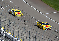 March 4, 2018 - Las Vegas, NV, U.S. - LAS VEGAS, NV - MARCH 04: Joey Logano (22) Team Penske Pennzoil Ford Fusion and Ryan Blaney (12) Team Penske Ford Fusion lead the pack during the Monster Energy NASCAR Cup Series Pennzoil 400 on March 04, 2018 at Las Vegas Motor Speedway in Las Vegas, NV. (Photo by Chris Williams/Icon Sportswire) (Credit Image: © Chris Williams/Icon SMI via ZUMA Press)