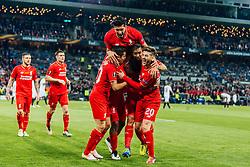 18.05.2016, St. Jakob Park, Basel, SUI, UEFA EL, FC Liverpool vs Sevilla FC, Finale, im Bild Torjubel Liverpool nach dem 1:0 durch Daniel Sturridge (FC Liverpool), Adam Lallana (FC Liverpool), Coutinho (FC Liverpool), Emre Can (FC Liverpool), Roberto Firmino (FC Liverpool) // Goal Celebration after Daniel Sturridge (FC Liverpool) scores the opening Goal Adam Lallana (FC Liverpool) Coutinho (FC Liverpool) Emre Can (FC Liverpool) Roberto Firmino (FC Liverpool) during the Final Match of the UEFA Europaleague between FC Liverpool and Sevilla FC at the St. Jakob Park in Basel, Switzerland on 2016/05/18. EXPA Pictures © 2016, PhotoCredit: EXPA/ JFK