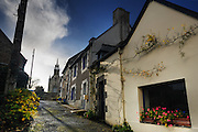 The holy path to the church, La Roche Derrien, Bretagne, Brittany, Cotes d'Armor, France