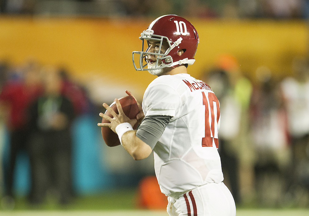 January 7, 2013:  Alabama quarterback AJ McCarron (10) throws the ball during the Discover BCS National Championship between the Alabama Crimson Tide and the Notre Dame Fighting Irish at Sun Life Stadium in Miami Gardens, Florida.  Alabama defeated Notre Dame 42-14.